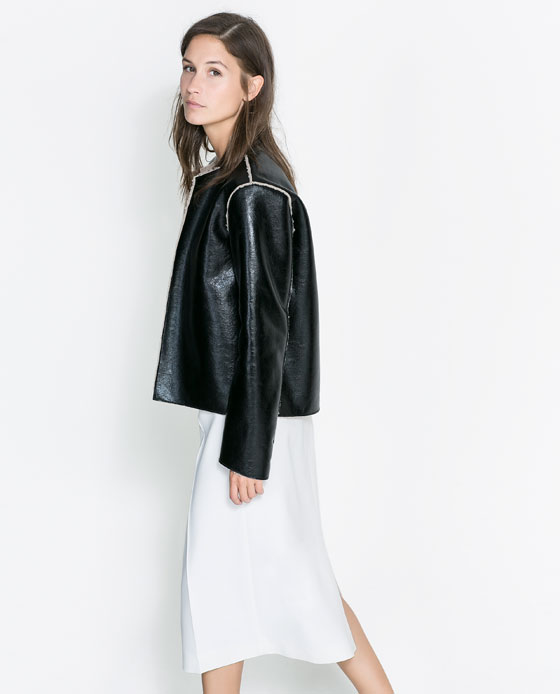 Zara Coat Blogger Leather